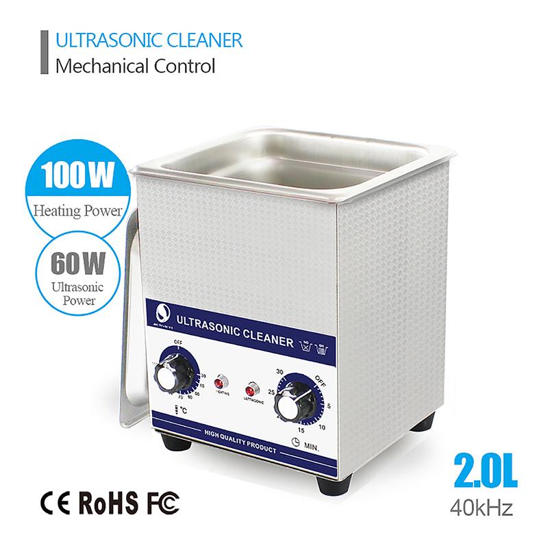SKYMEN 2L 60W Ultrasonic Cleaner with Knob Control Bath Stainless Steel Baskets for Metal Parts Silver