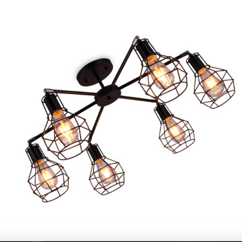 цена на Vintage Creative Minimalism Brief Black Iron Led E27*3/6/8 Heads Ceiling Light for Living Room Bedroom Entrance AC 80-265V 1693