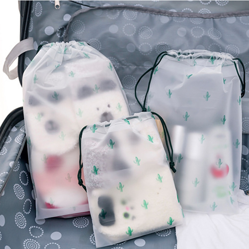 Women Transparent Drawstring Cactus Cosmetic Bag Travel Makeup Case Make Up Bath Organizer Storage Pouch Toiletry Wash Beauty