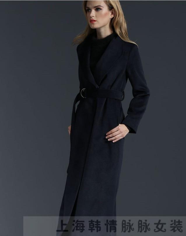 Mince En Veste 2017 Recouverts Boutons Nouveau Outwear Automne Laine Manteau Profond Pardessus Épaissir Trench Bleu Femme Longue Hiver 7FO6Fd