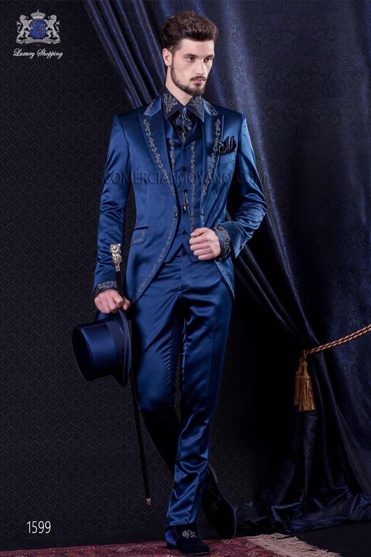 2017最新コートパンツデザインitalianpurpleブルーサテン刺繍男性スーツスリムフィット3ピースタキシードカスタムウエディングブレザーmasculino