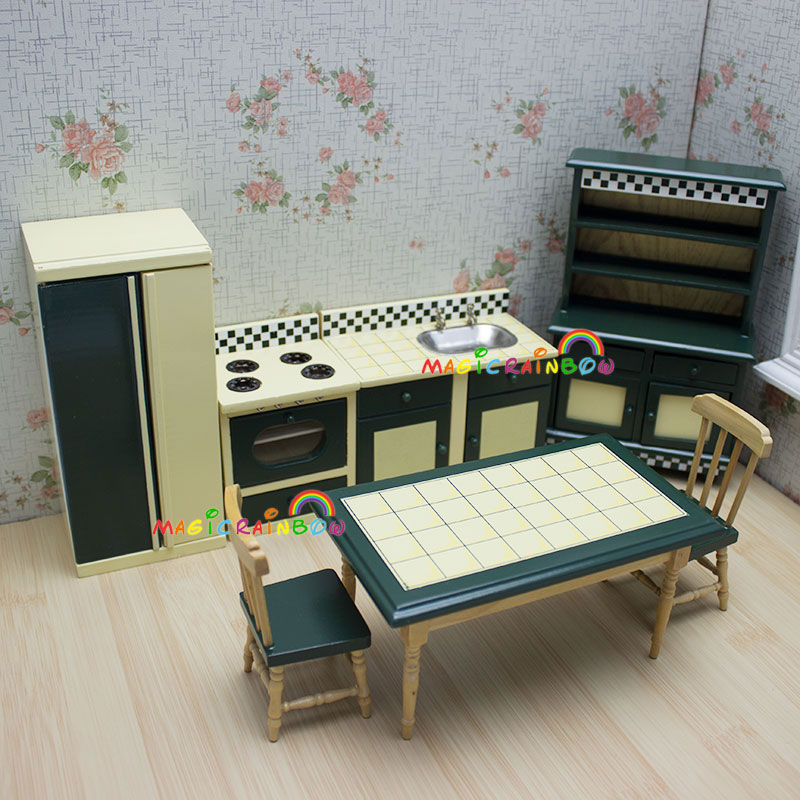 Dolls Kitchen Furniture Cupboard Oven Dining Table Chairs Dollhouse Miniatures 1:12 Kitchen & Dining Room 7pc set