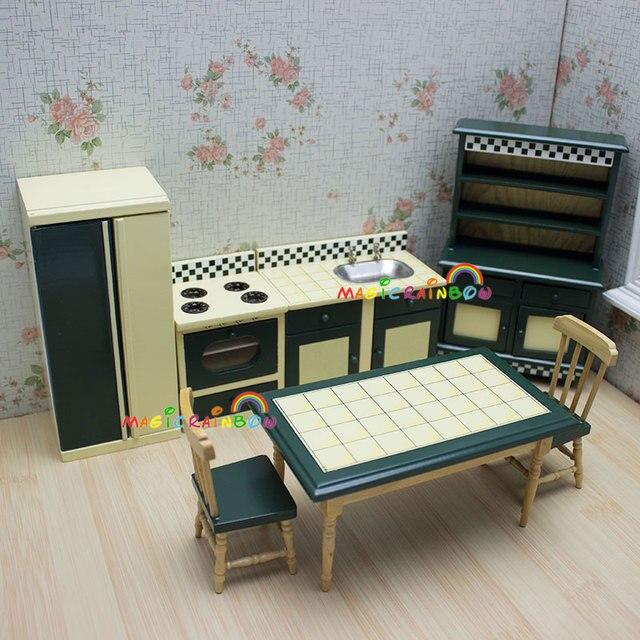 Puppen Küchenmöbel Schrank Ofen Esstisch Stühle Puppenhaus