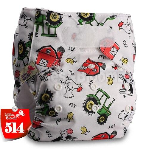 [Littles&Bloomz] Один размер многоразовые тканевые подгузники Моющиеся Водонепроницаемые Детские карманные подгузники стандартная застежка на липучке - Цвет: 514