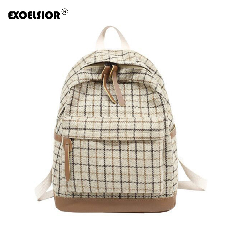Detail Feedback Questions about EXCELSIOR 2019 New Plaid School Style Bags  Canvas Female Backpack Student Fashionable Bags for Women Large Capacity  Female ... 41b73012c82d8