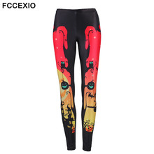 Halloween Party Theme Series Women's Leggings Black Cats Ghosts and Witches Printed Legins High Waist Fitness Elastic Leggings