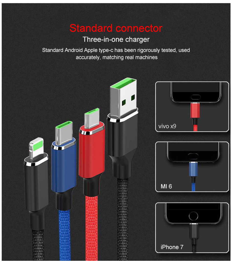 NOHON Nylon 3 In 1 Lighting Charger Cable For iPhone X 7 8 6 6S Plus Micro USB Type C For Samsung Xiaomi 5 Charging Cables  (1)