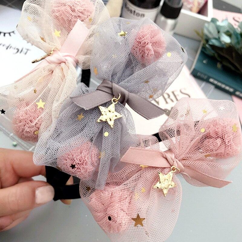 Fashion Cute Gauze Pom Pom Ball Hair Bow Hard Hairbands Solid Kawaii Glitter Bowknot Girls Hair