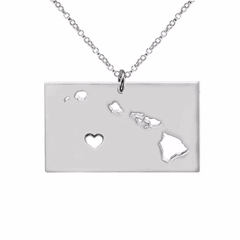 Hawaii state map silver necklace pendant necklaces accessories jewelry statement necklace