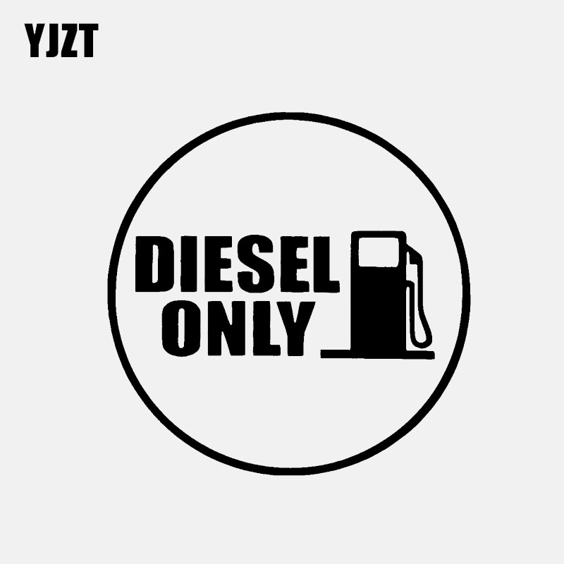 YJZT 12.1CM*12.1CM DIESEL ONLY Vinyl Decals Fun Car Sticker Fuel Black/Silver C3-0775