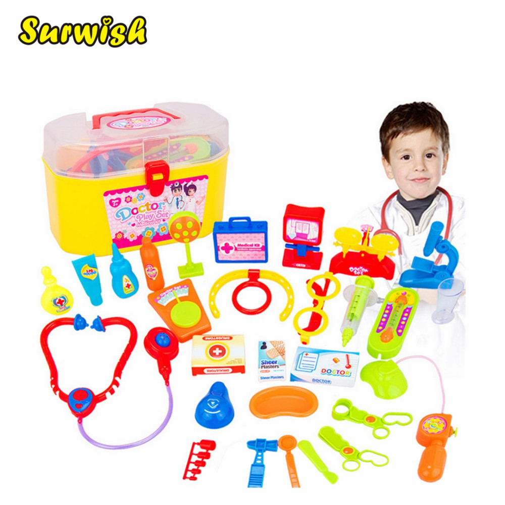 Surwish 30 Pieces / set Pretend & Play Doctor Set with Stethoscope and Medical Doctor's Equipment Educational Toy new 2016 pretend play toys medical kits doctor s bag playsets learning education toy set doctorm200o