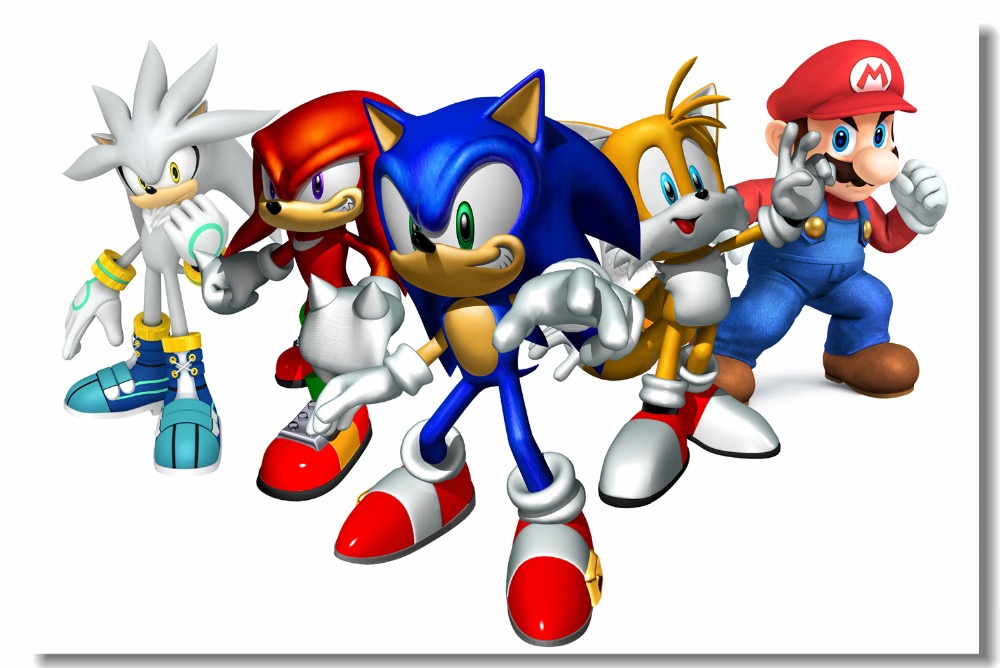 Custom Canvas Wall Murals Sonic The Hedgehog Poster Super Smash Bros Wallpaper Sonic Decoration Mario Game Wall Stickers #0486#
