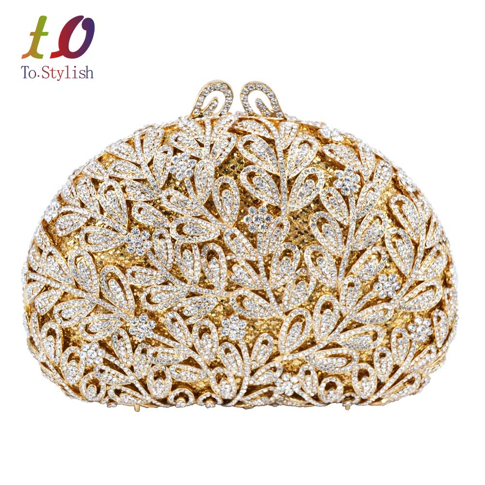 ФОТО Newest Flower Evening Crystal Bag Golden Stones rhinestone Clutch Evening Bag Female Party Purse Wedding Clutch Bag SC532