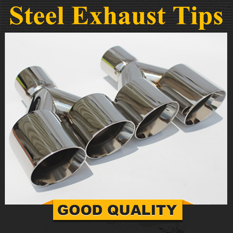 TipsFree Shipping One Pair Y Model Stainless Steel Dual End Tips for BMW BENZ AUDI VW
