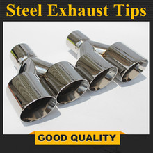 TipsFree Shipping:  One Pair Y Model Stainless Steel  Dual End Tips for BMW BENZ AUDI VW Exhaust Dual Muffler Pipes Tail Tips