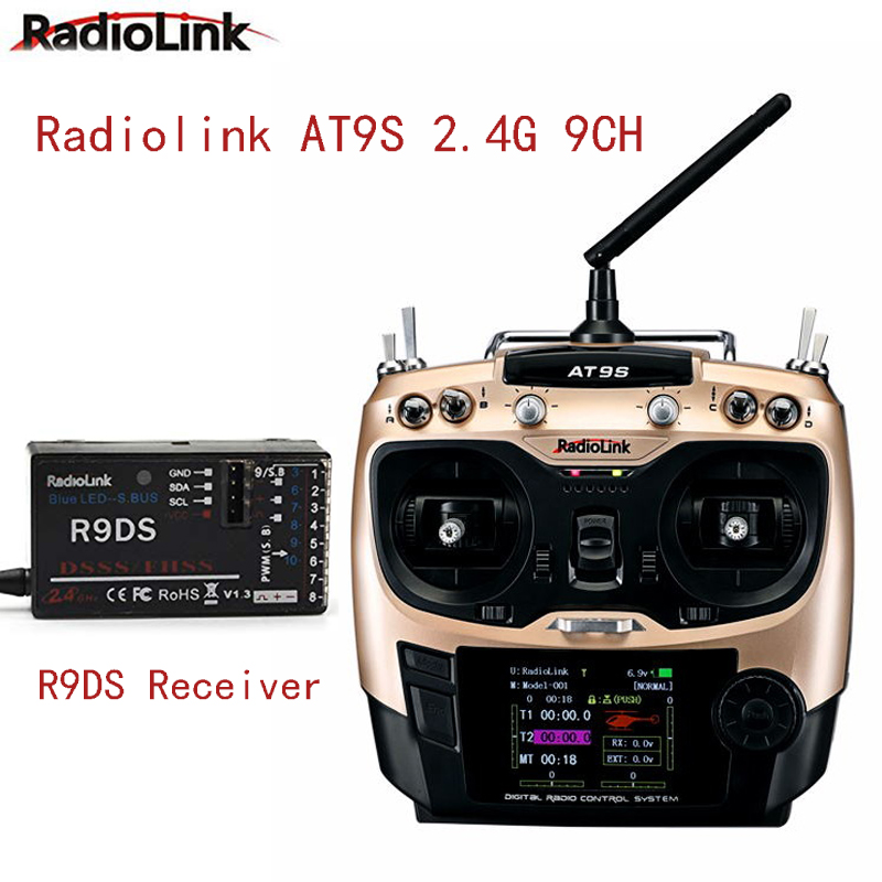 Radiolink AT9S 10CH RC Transmitter And Receiver R9DS 2.4G FPV Radio Controller Kit For Racing Drone/Multicopter