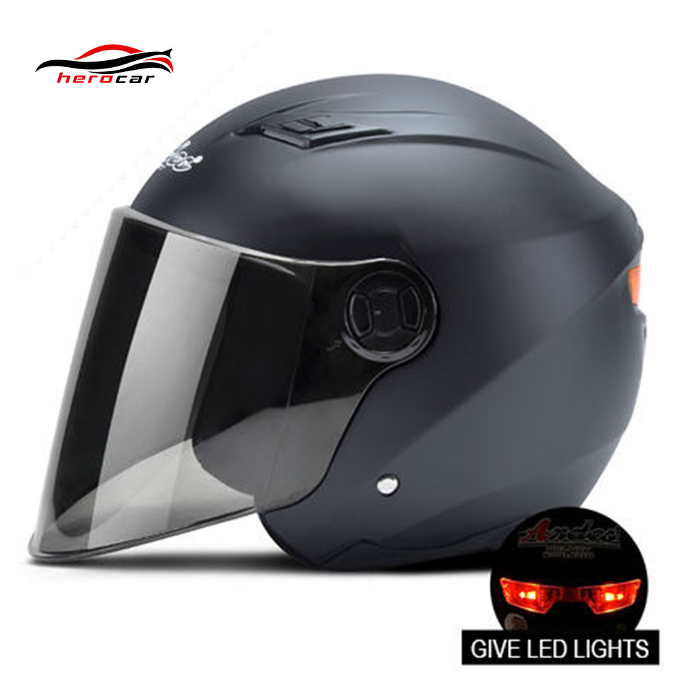 Motorcycle Helmet With Lens LED Light 3/4 Open Face Helmet Scooter Motorbike Capacete Modular Flip Up Helmet Casque Casco Moto