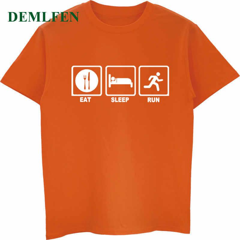 Новая мужская летняя футболка с принтом «Eat Sleep Runer», модная одежда для мужчин, хлопковая футболка с короткими рукавами и круглым вырезом, повседневная мужская футболка