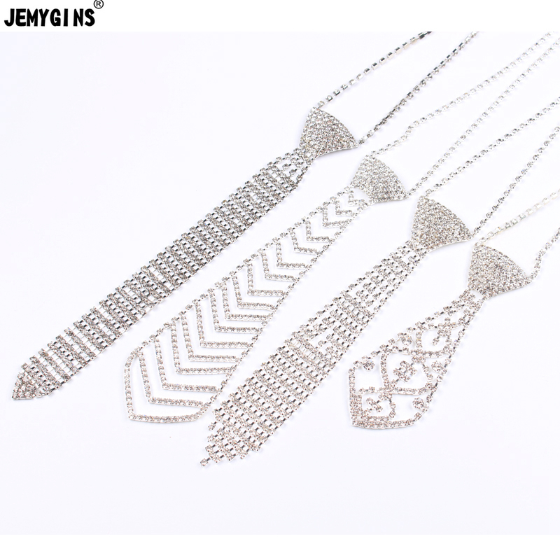 JEMYGINS Metal Alloy Diamond Fair Sex Womens Neck Tie Sexy Glittery Beautiful Unique Ornament Bow Tie For Dinner Party Wedding