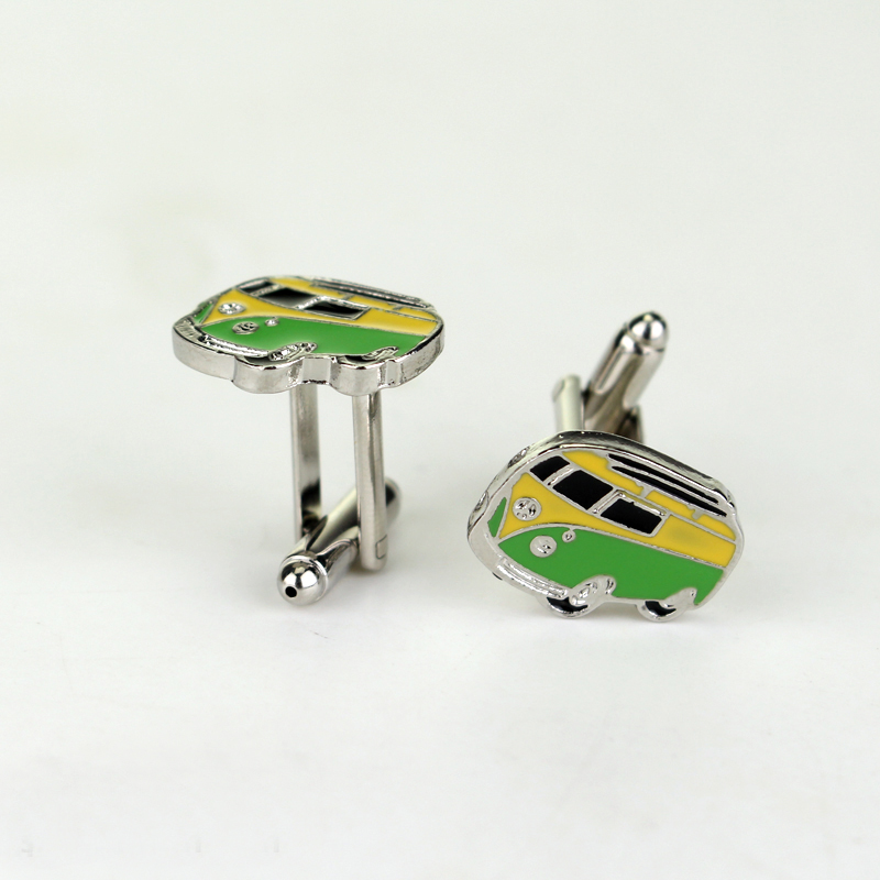 High Quality Enamel Bus Cufflinks Novelty Traffic Car Design Cuff Links Mens Shirt Cufflink