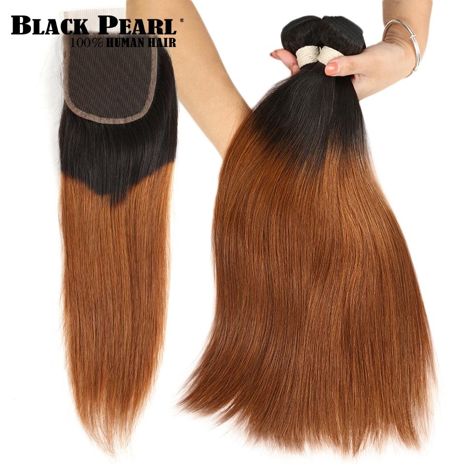 Black Pearl Brazilian Straight Hair Weave Bundles Honey Blonde Bundles With Closure Blonde Human Hair Ombre Bundles With Closure