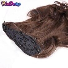 DinDong Fish Line Лінії для волосся 18-дюймовий синтетичний лінійний фінішний кліп у розтяжках волосся Таємниця невидимого дроту з кліпсами в Брауні