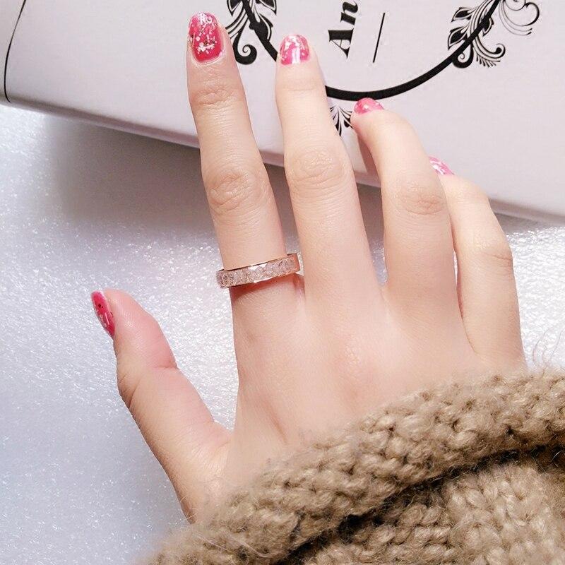 YUN RUO rožinis auksinis daugiaspalvis sniego cirkonio žiedas - Mados papuošalai - Nuotrauka 6