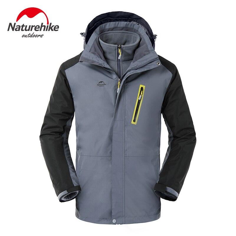 Brand Naturehike Lovers Outdoor Sports Wind Break Jacket Windproof couples with Triad ski-wear 2pcs set 3 in 1 windbreaker