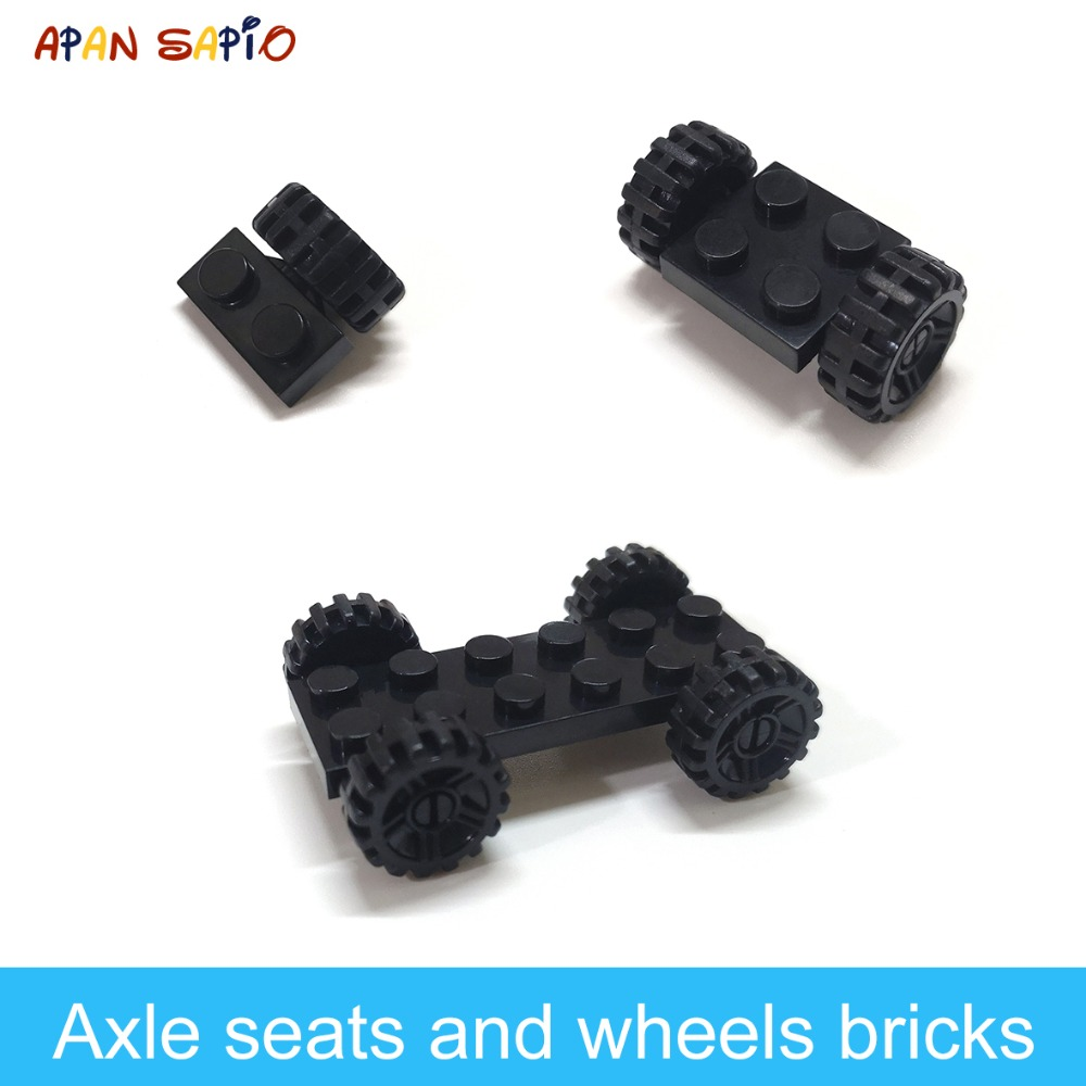 DIY Building Blocks Figures Bricks Axle Seat And Wheels 1x2 2x2 2x6 Educational Creative Compatible With Legoe Toys For Children