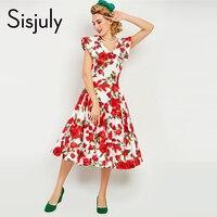 Sisjuly 1950s Women Vintage Dress Summer Red Floral Print Vintage Dress Retro Elegant Women Retro Dresses
