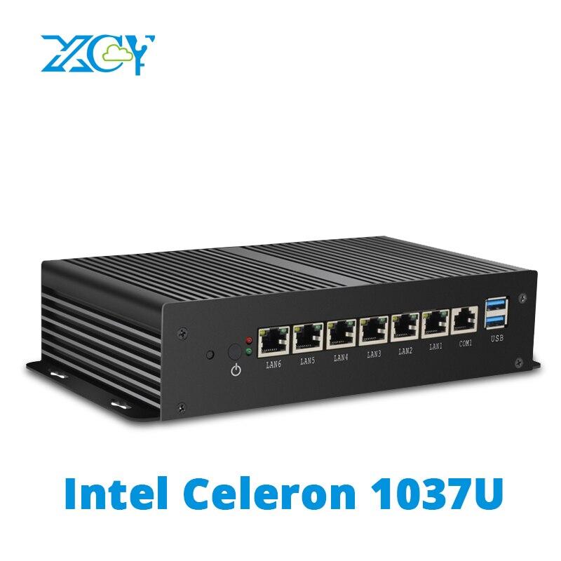 XCY Fanless Mini PC Intel Celeron 1037U pfSense Security Gateway Appliance 6x Intel Gigabit Ethernet RJ45 Soft RouterOS Firewall