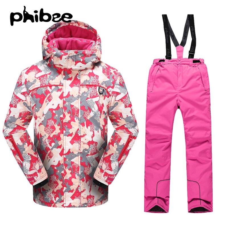 Prix pour Phibee Hiver Filles ou Garçons Étanche Ski Veste de Neige Pantalon Chaud Épais Snowboard Coupe-Vent Respirant-30 Degrés