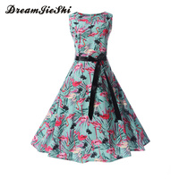 Dreamjieshi Bird Print Summer Dress Vintage Women Hepburn O Neck Sleeveless Sash Party Dresses Elegant Big