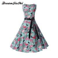 Dreamjieshi Bird Print Summer Dress Vintage Women Hepburn O Neck Sleeveless Sash Party Dresses Elegant Big
