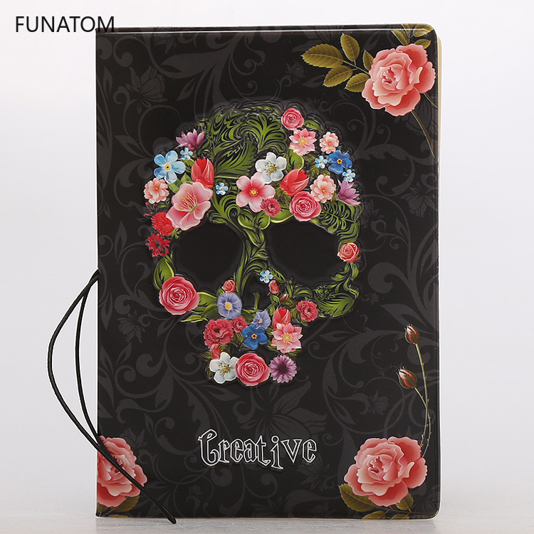 Creative Skull Rose Alternative Pu Leather Passport Set Identity Card Pack Pasport Travel Supplies