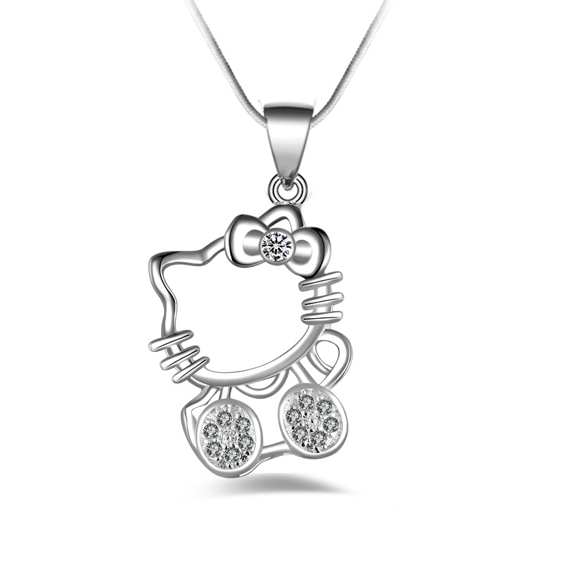 Fashion Hello Kitty Copper plated silver Pendants Necklaces Chain ELEMENTS Crystal Cute Cat Clavicle necklace Jewelry For Women