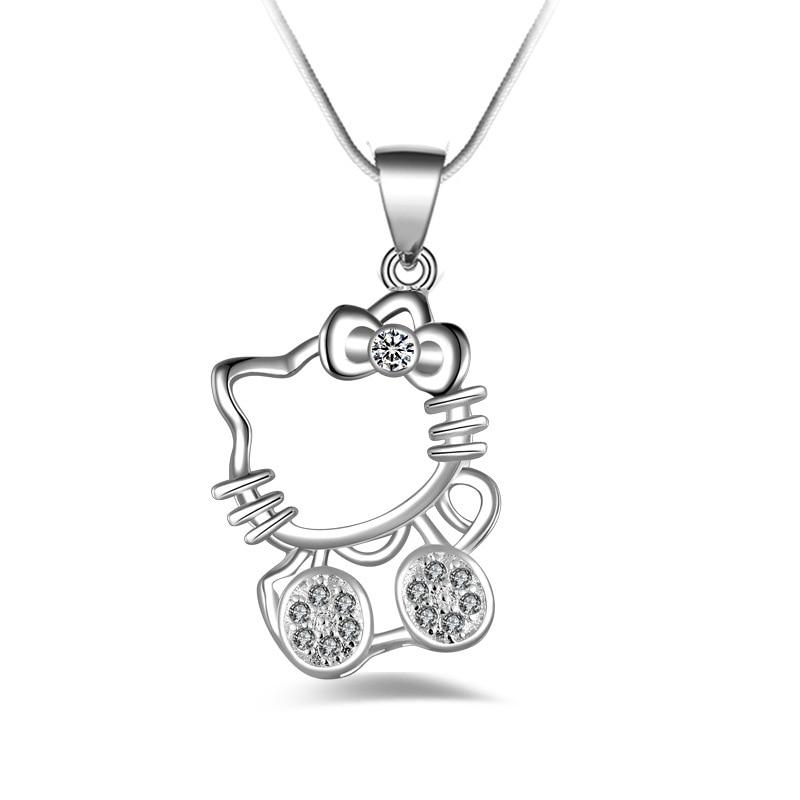 Mode Hello Kitty Tembaga disepuh perak Liontin Kalung ELEMEN Rantai Kristal Lucu Kucing Klavikula kalung Perhiasan Untuk Wanita