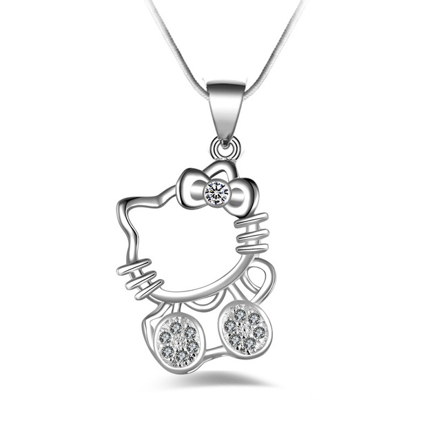 Hello Kitty Pendant ALP Fashion Hello Kitty Copper plated silver Pendants Necklaces Chain ELEMENTS  Crystal Cute Cat Clavicle necklace Jewelry