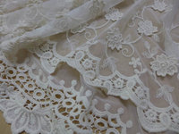 Vintage Cotton Embroidery Fabric in Beige for Weddings, Dress, Curtains Drapes, Costume Lace Fabric By The Yard