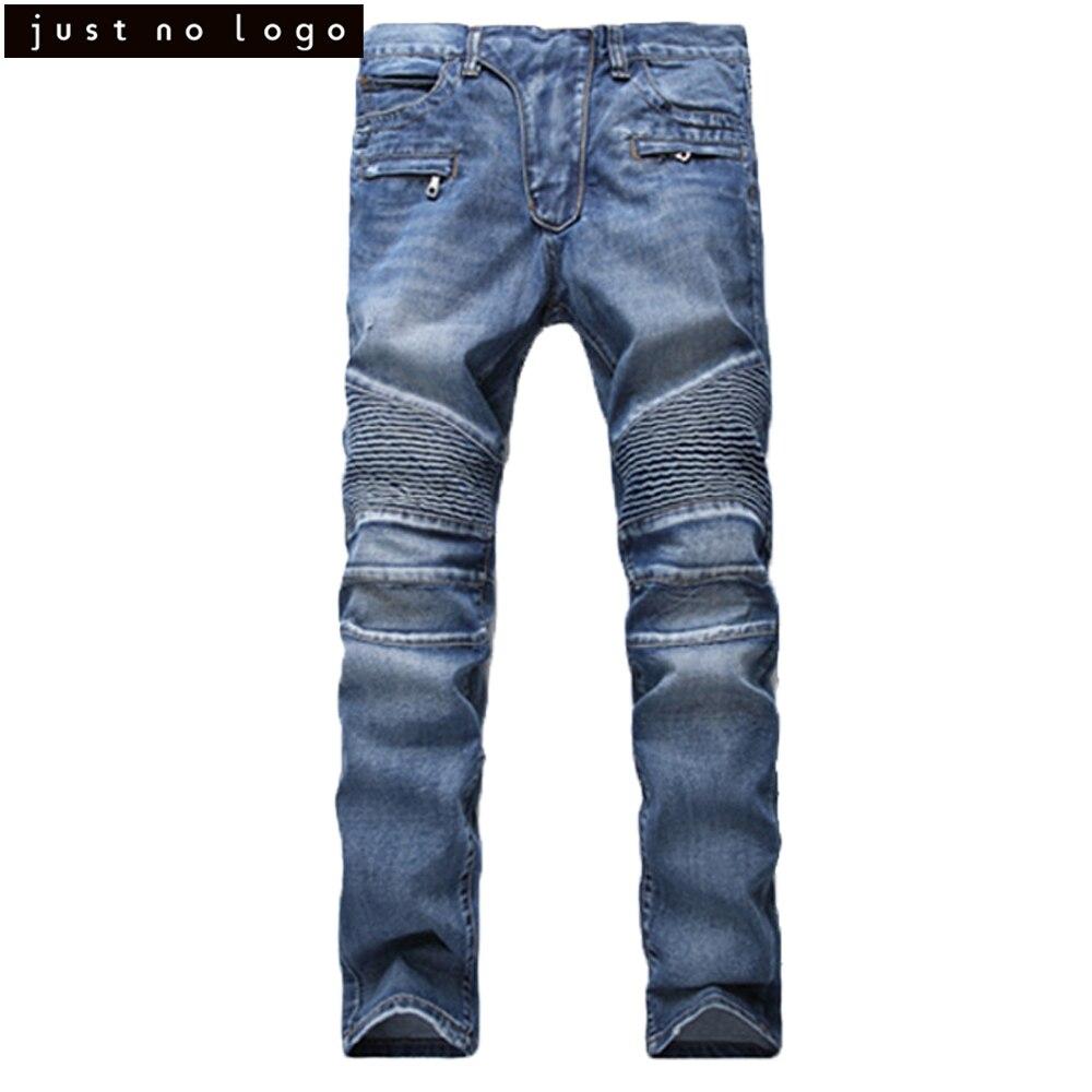 JNL Mens Biker Moto Slim Fit Straight Jeans Skinny Ripped Denim Long Trouser Hip Hop Jeans Pants Blue Black Famous Brand Style 2017 fashion patch jeans men slim straight denim jeans ripped trousers new famous brand biker jeans logo mens zipper jeans 604