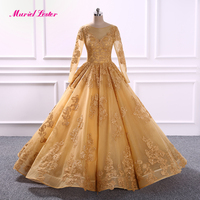 Robe De Soiree Longue 2018 Gold Long Sleeves Ball Gown Evening Dress 2019 Appliques Dresses Wedding Robe De Soiree Prom Gowns