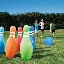 6 unidades/juego de bolos inflables para niños, juguetes hinchados coloridos para jugar al aire libre, playa, pastizales, adornos familiares