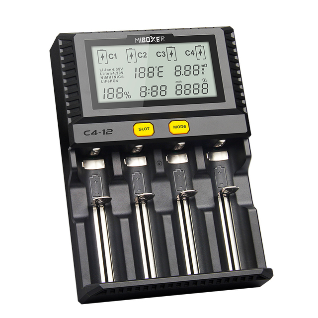 Miboxer C4-12 Smart Batterij 18650 265650 Charger 4-Slot Lcd-scherm 3.0A/slot totaal 12A voor Li-Ion/ IMR/INR/ICR/Ni PK VP4 PLUS