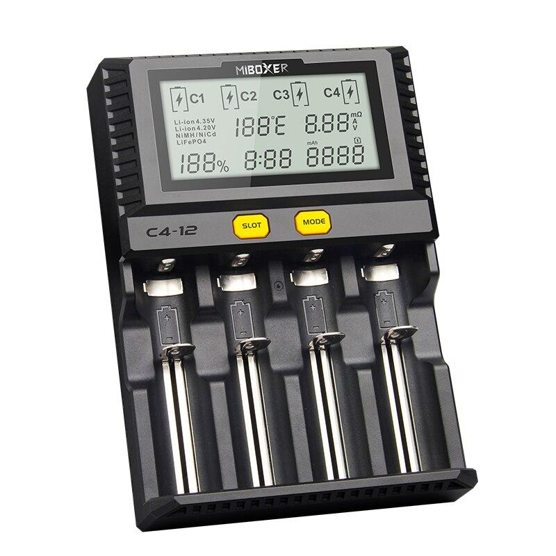 Miboxer C4-12 batterie intelligente 18650 265650 chargeur 4 fentes écran LCD 3.0A/Slot total 12A pour Li-ion/IMR/INR/ICR/Ni PK VP4 PLUS