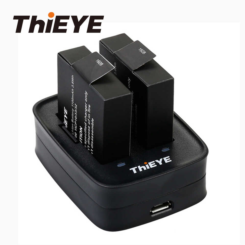 Dual Battery Charger + Twee 1100Mah Oplaadbare Batterijen Voor Thieye T5 Edge/T5 Pro/T5e/Akaso v50 Elite/8K Action Camera