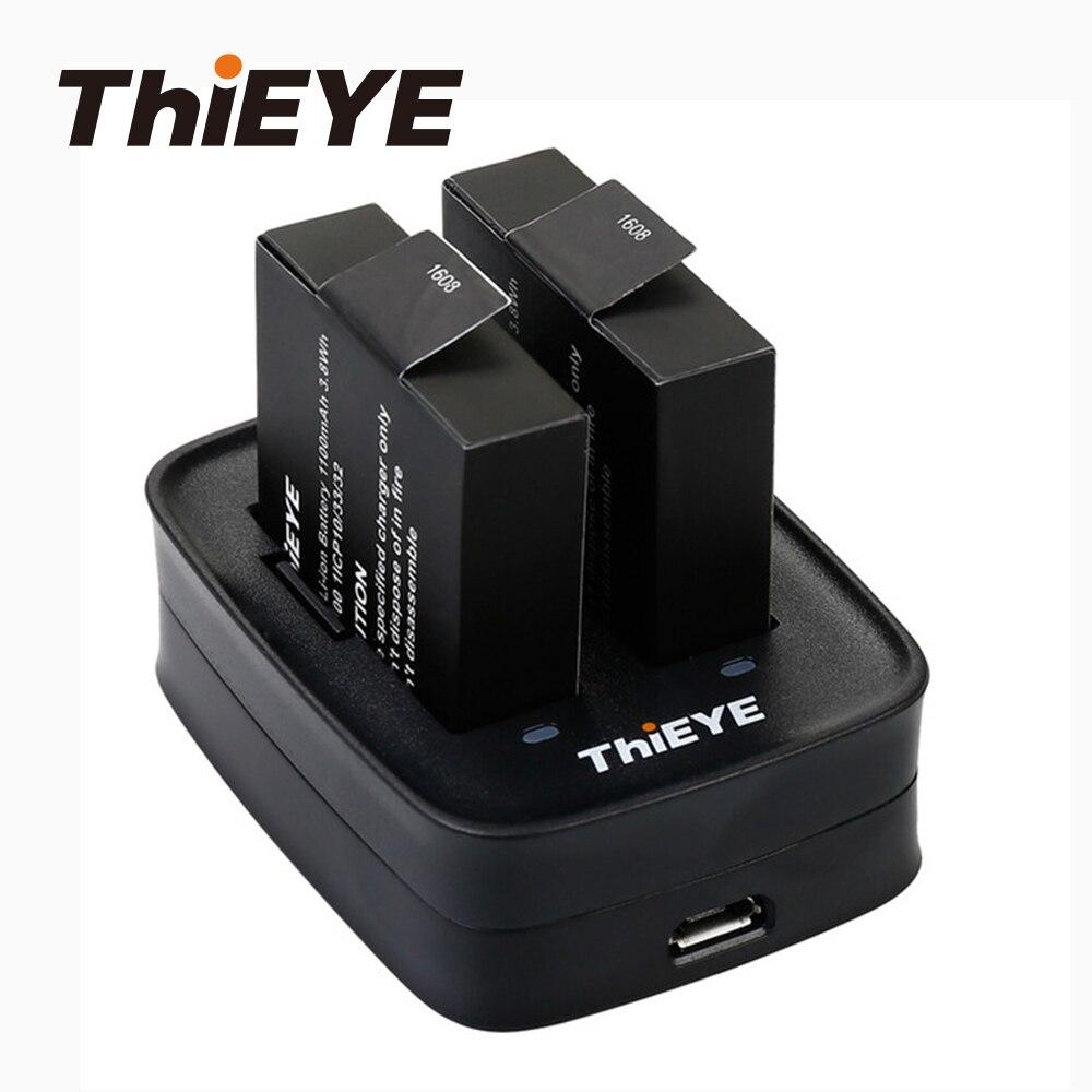 Двойное зарядное устройство + две 1100 мАч аккумуляторные батареи для theye T5 Edge/T5 Pro/T5e/AKASO V50 Elite аксессуары для экшн-камеры