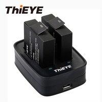 Двойной Батарея Зарядное устройство + два 1100 мА/ч, Перезаряжаемые батареи для AKASO V50 Elite ThiEYE T5 Edge/E7/T5e/T5 экшн Камера аксессуары