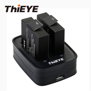 Image 1 - Двойное зарядное устройство + две перезаряжаемые батареи 1100 мАч для экшн камеры ThiEYE T5 Edge/T5 Pro/T5e/AKASO V50 Elite / 8k