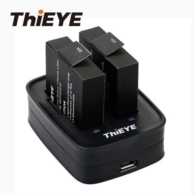 Двойное зарядное устройство + две перезаряжаемые батареи 1100 мАч для экшн камеры ThiEYE T5 Edge/T5 Pro/T5e/AKASO V50 Elite / 8k