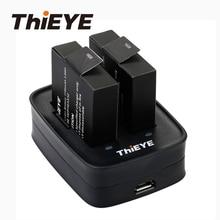 Carregador de bateria duplo + duas baterias recarregáveis 1100mah para thieye t5 edge/t5 pro/t5e/akaso v50 elite/8k câmera de ação